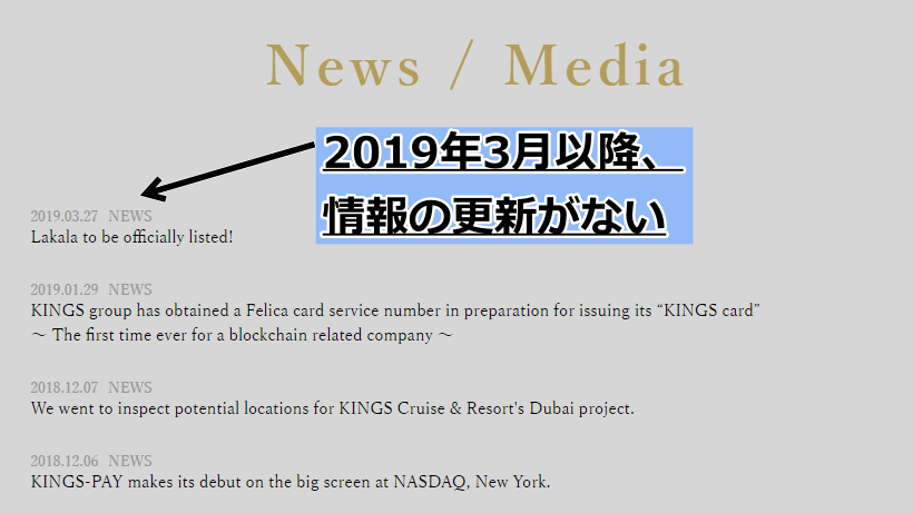 キングスコインニュース更新無し