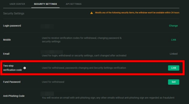 Fcoinの二段階認証手順3